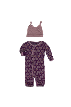 Kickee Pants Print Ruffle Layette Gown Converter and Double Knot Hat Set - Alternate List Image