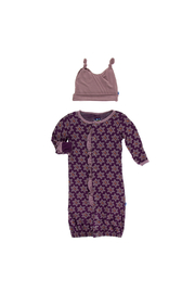 Kickee Pants Print Ruffle Layette Gown Converter and Double Knot Hat Set - Front cropped