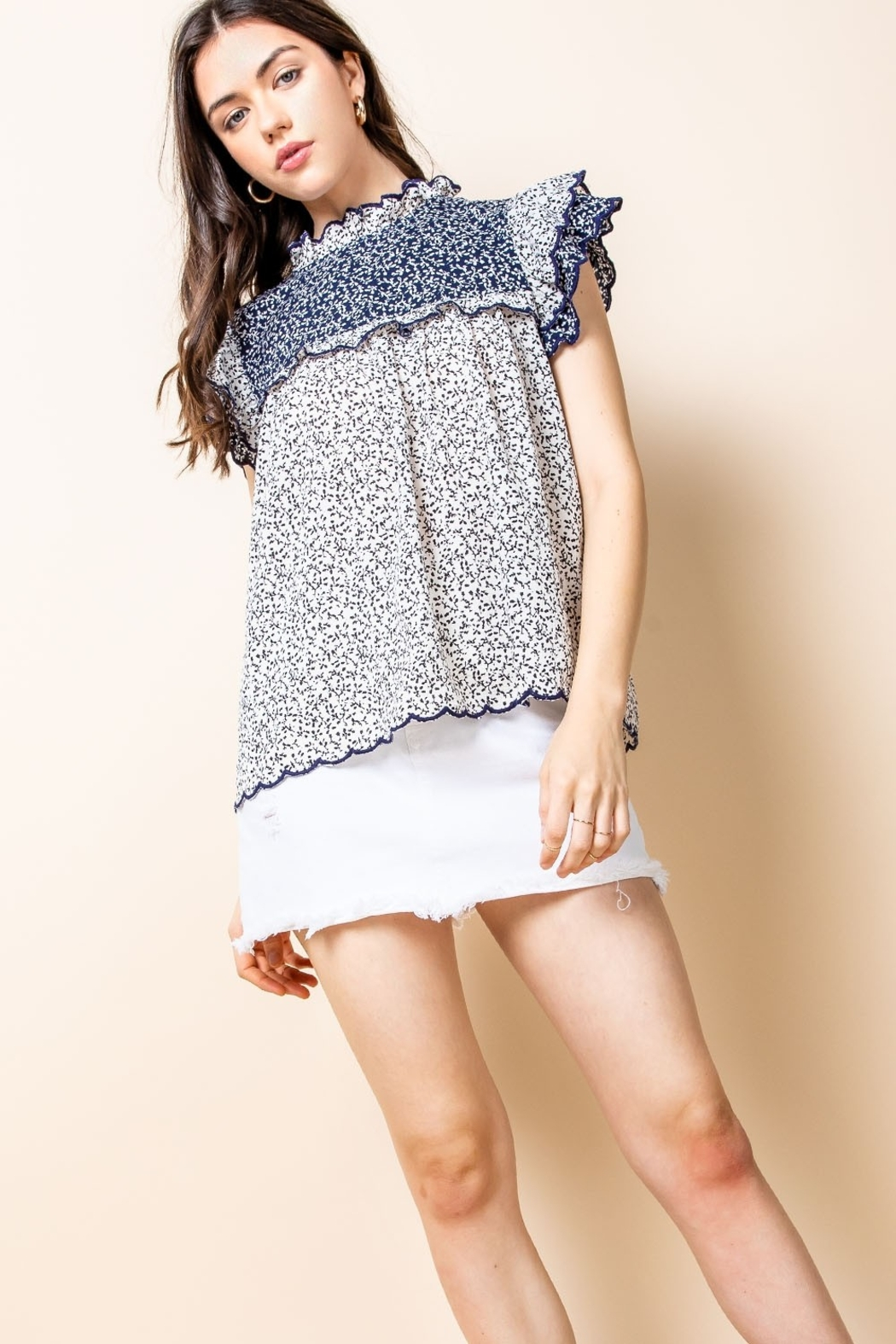 Thml Print Ruffle Top - Front Cropped Image