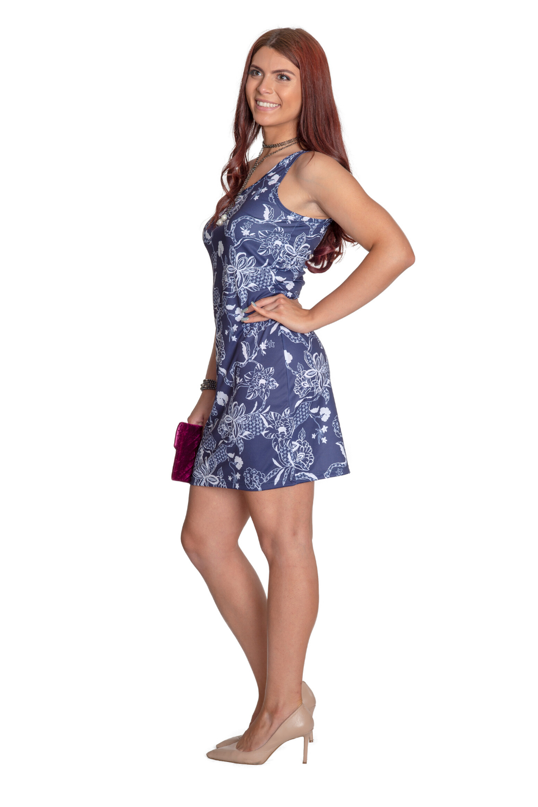 Whimsy Rose Print Scoop Tank Dress - Front Full Image