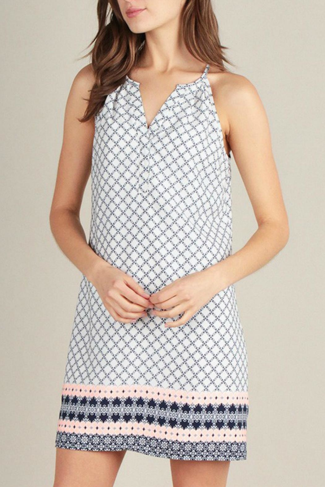 Skies Are Blue Print Shift Dress - Front Full Image
