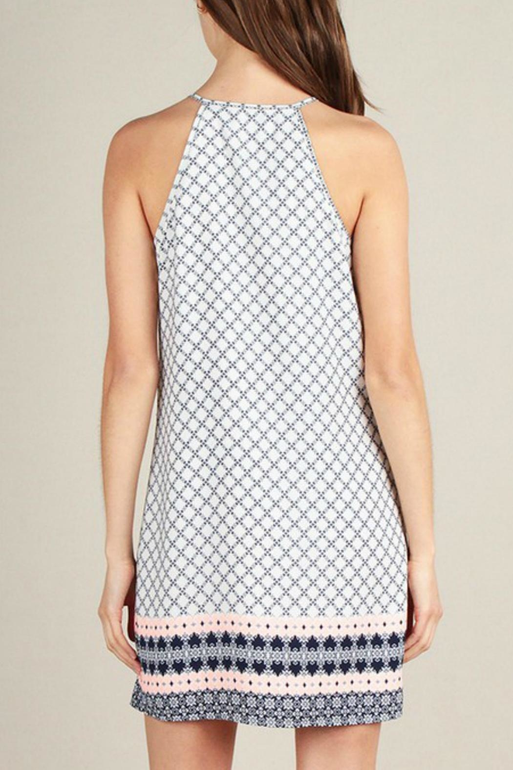 Skies Are Blue Print Shift Dress - Back Cropped Image