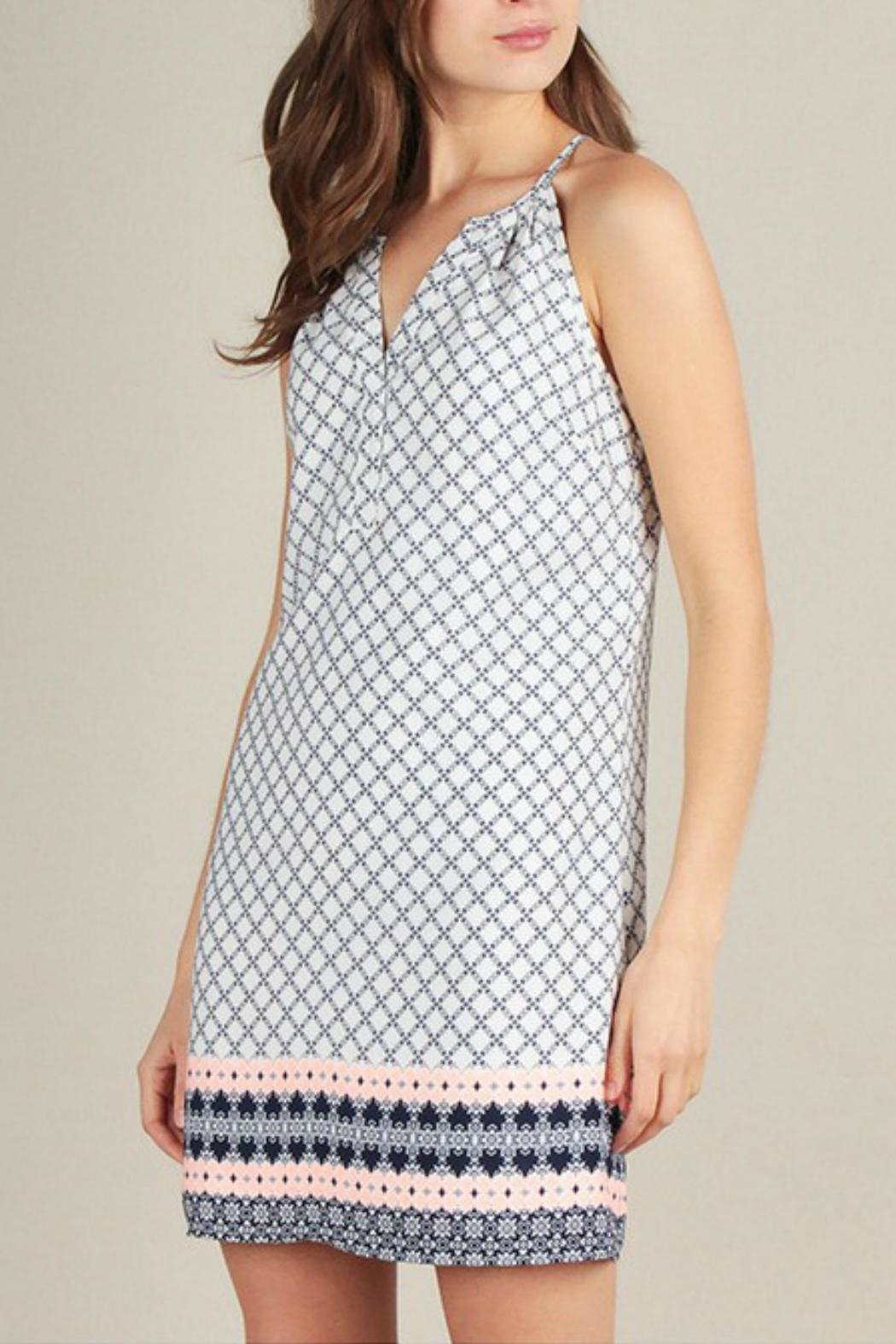 Skies Are Blue Print Shift Dress - Side Cropped Image