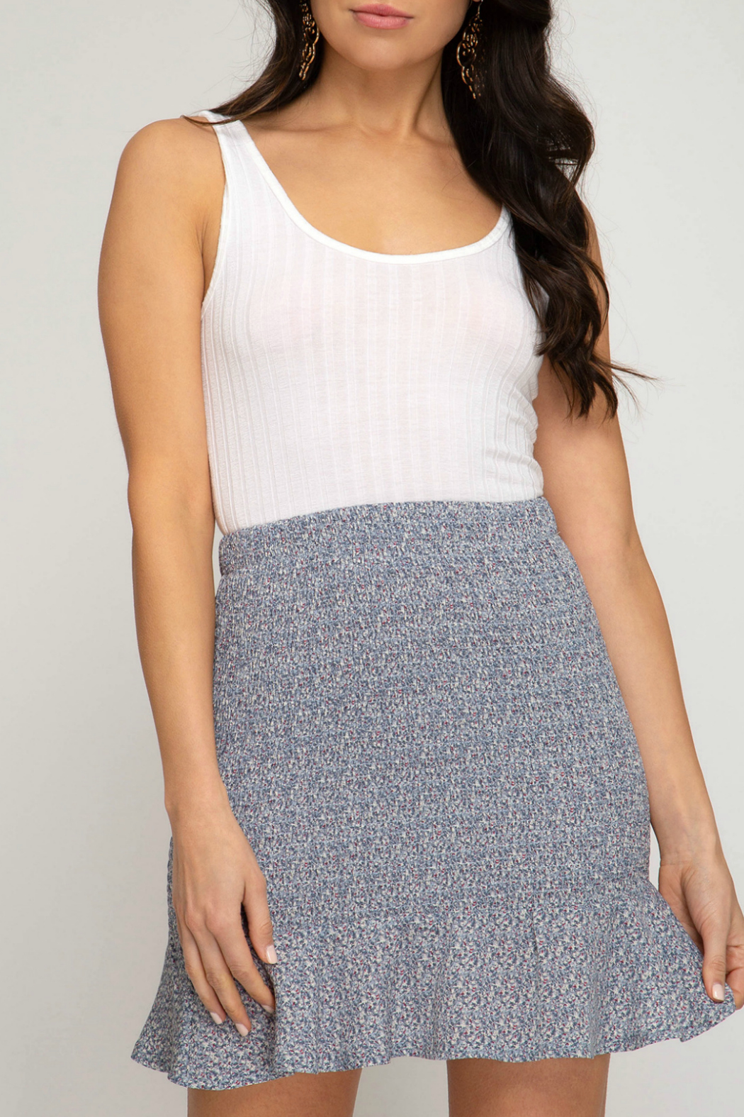 She + Sky Smocked Mini Skirt - Front Cropped Image