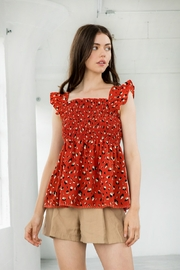 Thml Print Smocked Top With Ruffle Sleeves - Product Mini Image