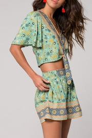 Band Of Gypsies Print Tie Front - Front full body
