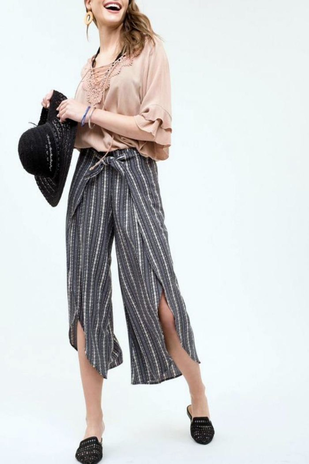 Blu Pepper Print Tie Pants - Main Image