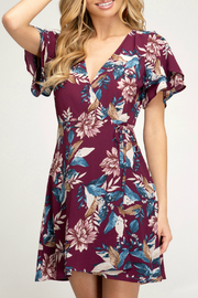 She + Sky Print wrap dress - Product Mini Image