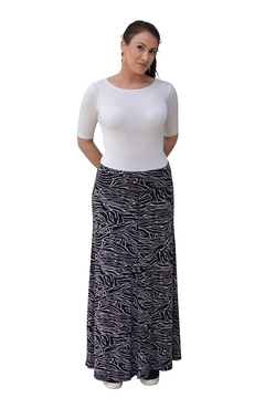 Kosher Casual Printed Maxi Skirt for Women Flowing A-line - Alternate List Image