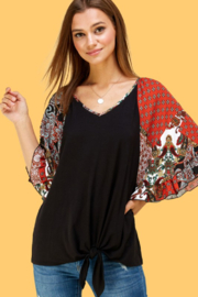 Les Amis Printed Bell Sleeve Tie Front Top - Product Mini Image