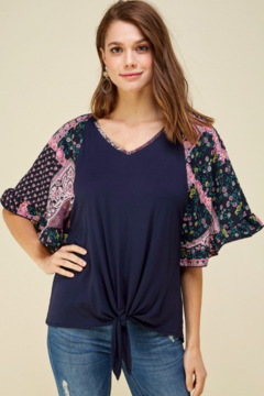 Les Amis Printed Bell Sleeve Tie Front Top - Product List Image
