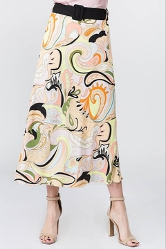 On Twelfth Printed Belted Midi Skirt - Product List Image