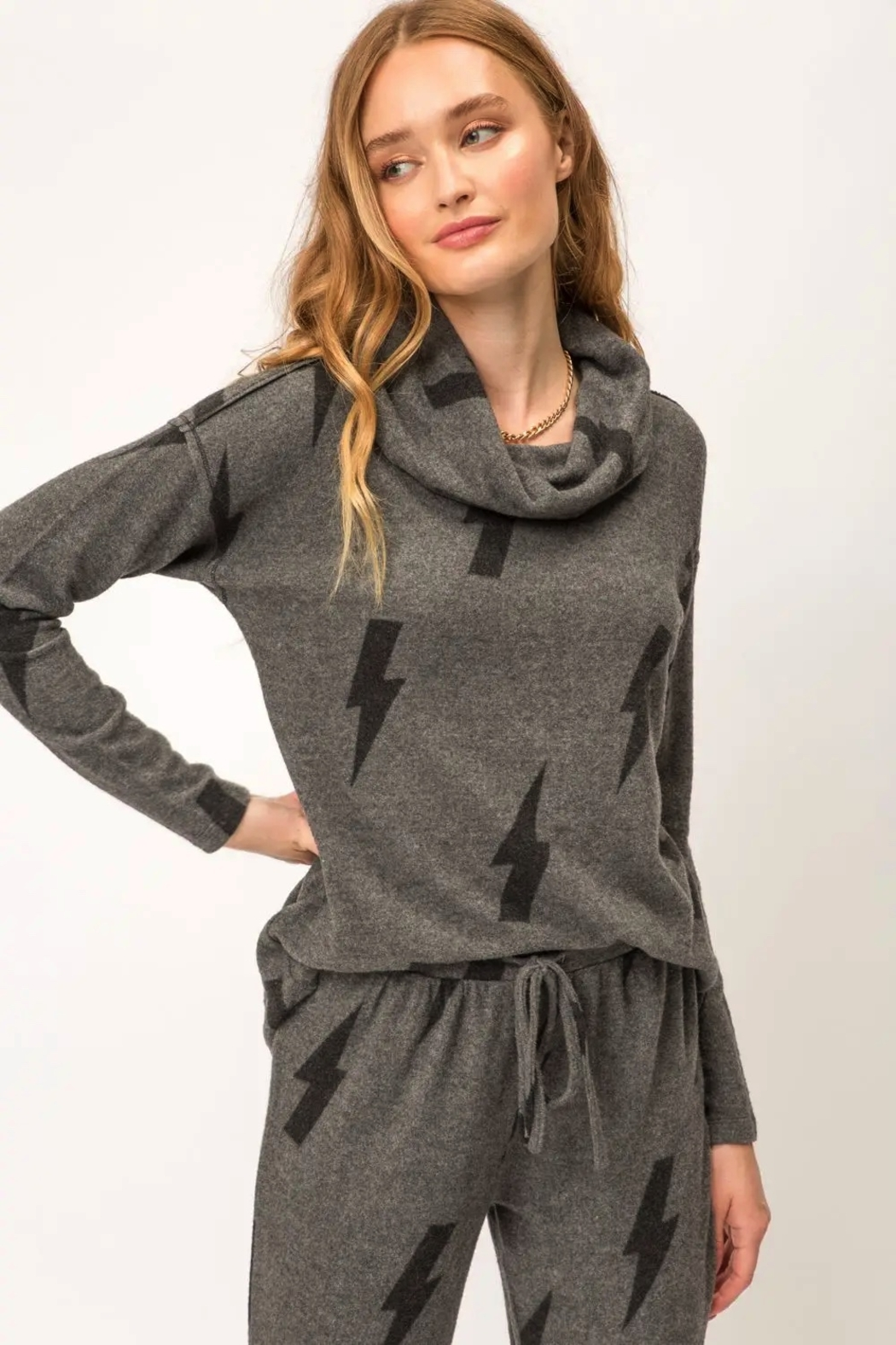 Mystree Printed Brushed Hacci Pullover - Side Cropped Image