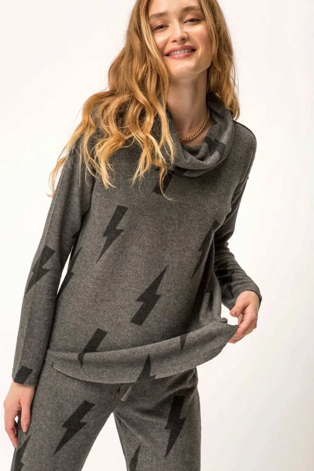 Mystree Printed Brushed Hacci Pullover - Back Cropped Image