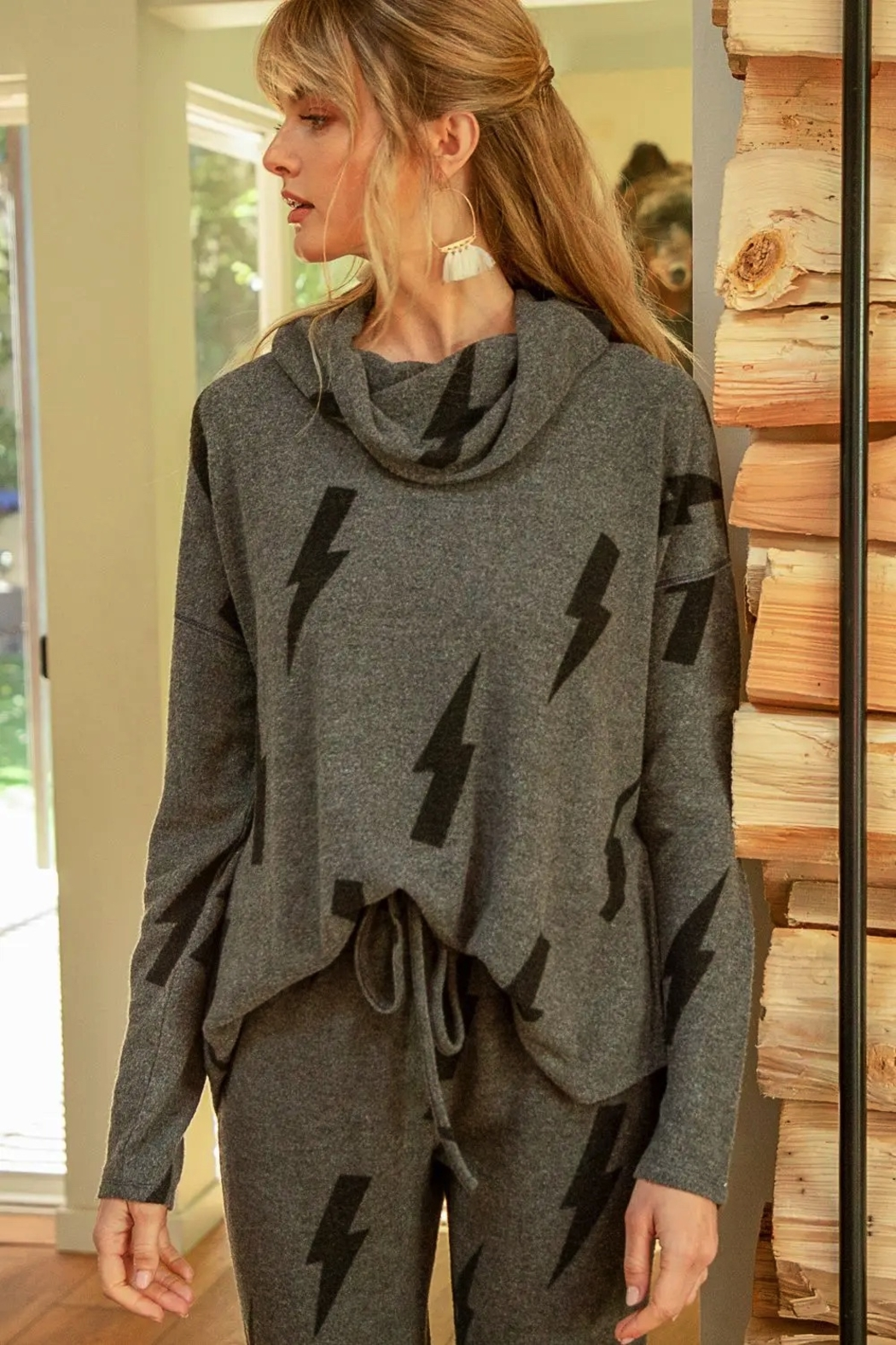 Mystree Printed Brushed Hacci Pullover - Main Image