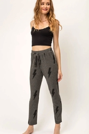 Mystree Printed Brushed Hacci Straight Leg Pants. - Side cropped