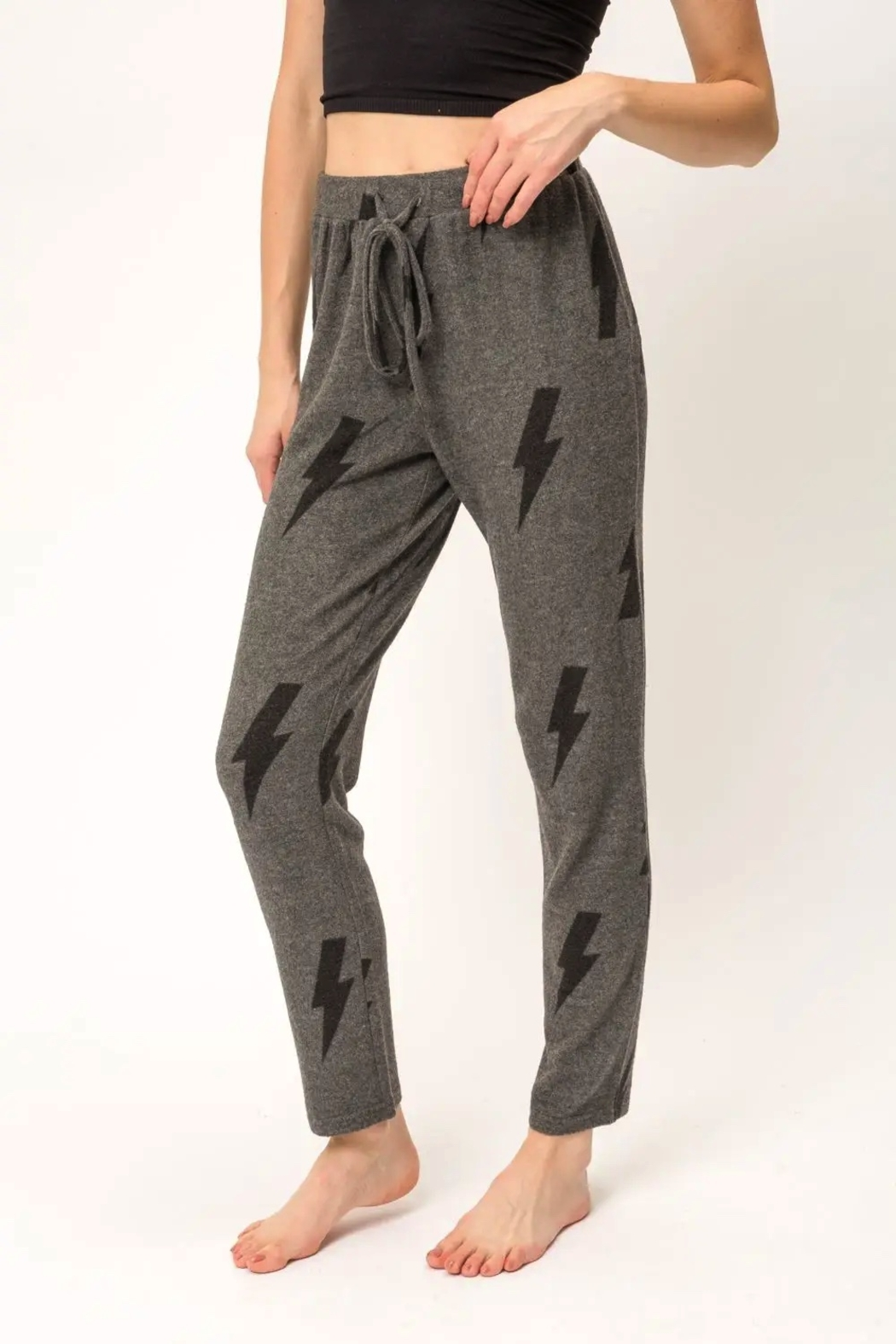 Mystree Printed Brushed Hacci Straight Leg Pants. - Front Full Image