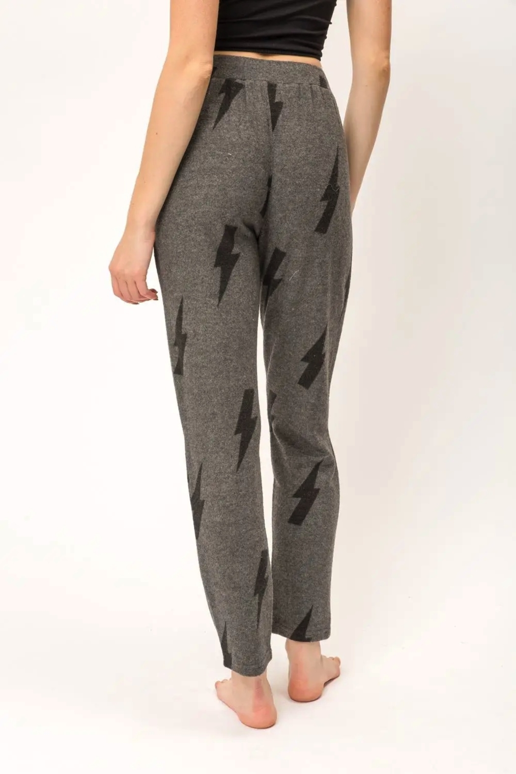 Mystree Printed Brushed Hacci Straight Leg Pants. - Back Cropped Image