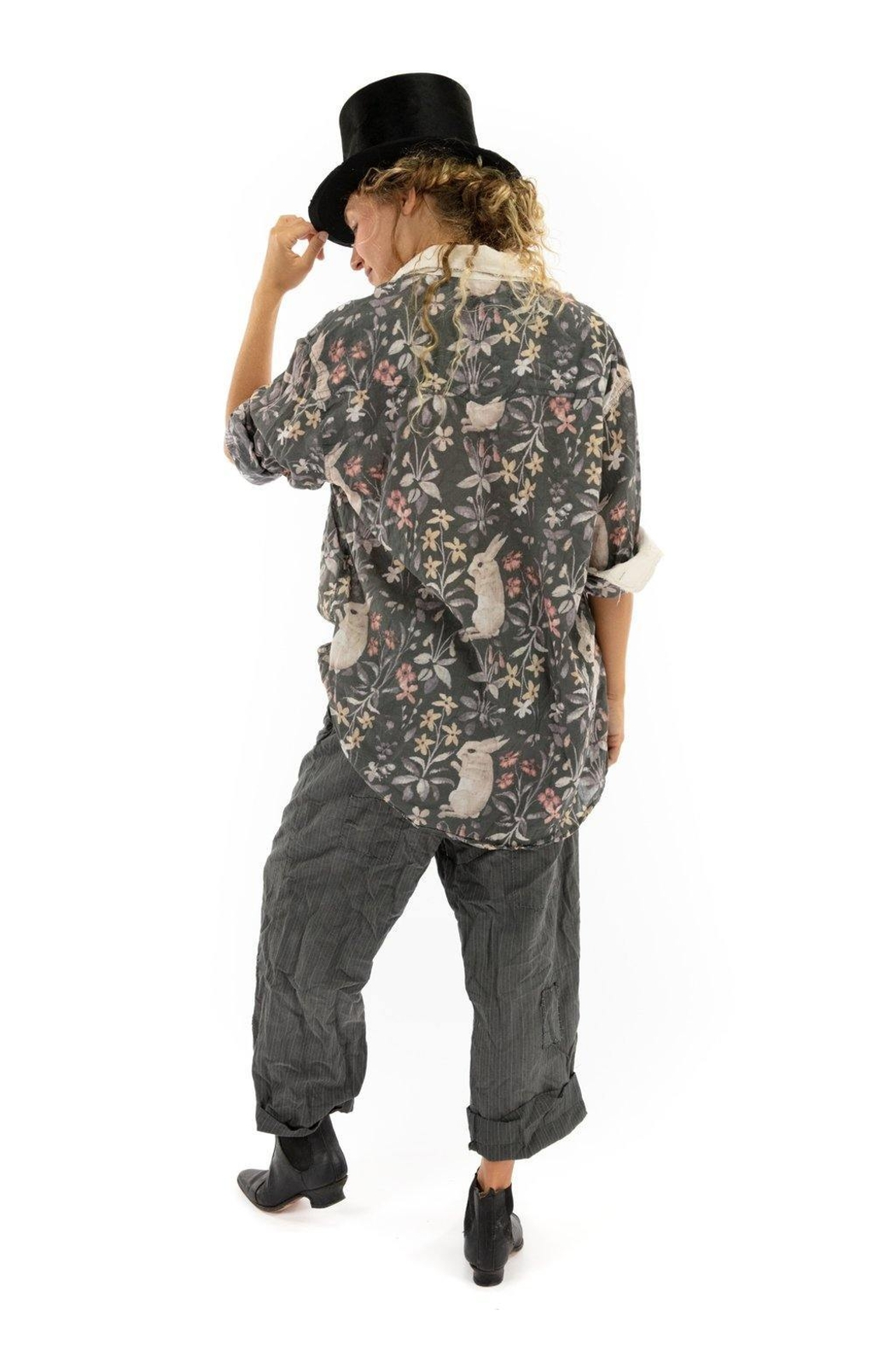 Magnolia Pearl Printed Button Up Boyfriend Shirt - Back Cropped Image