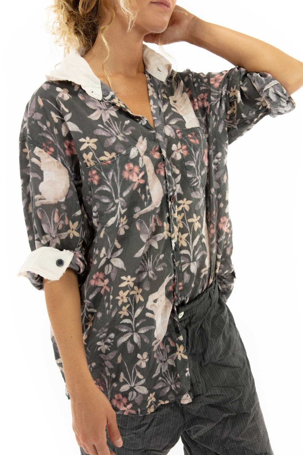 Magnolia Pearl Printed Button Up Boyfriend Shirt - Front Full Image