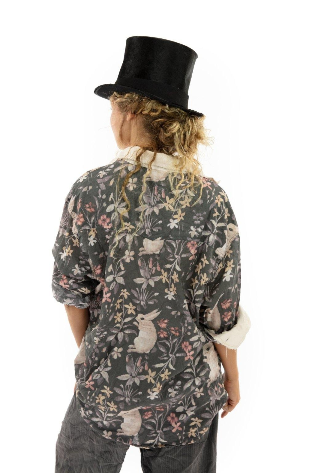 Magnolia Pearl Printed Button Up Boyfriend Shirt - Side Cropped Image