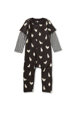 Shoptiques Product: Printed Button-Up Cheery Chicken Romper