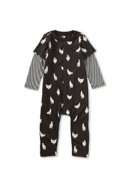 Tea Collection Printed Button-Up Cheery Chicken Romper - Product Mini Image