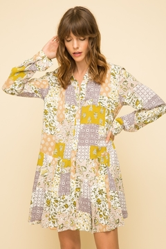 Mystree Printed Button Up Peasant Tunic - Product List Image