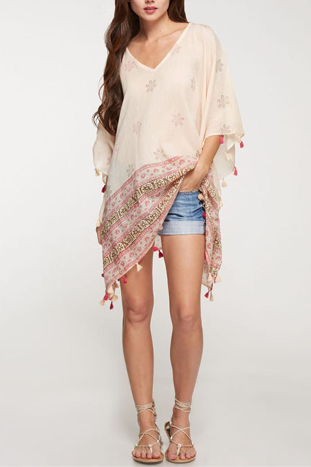 Love Stitch Printed Caftan Cover-Up - Front Full Image