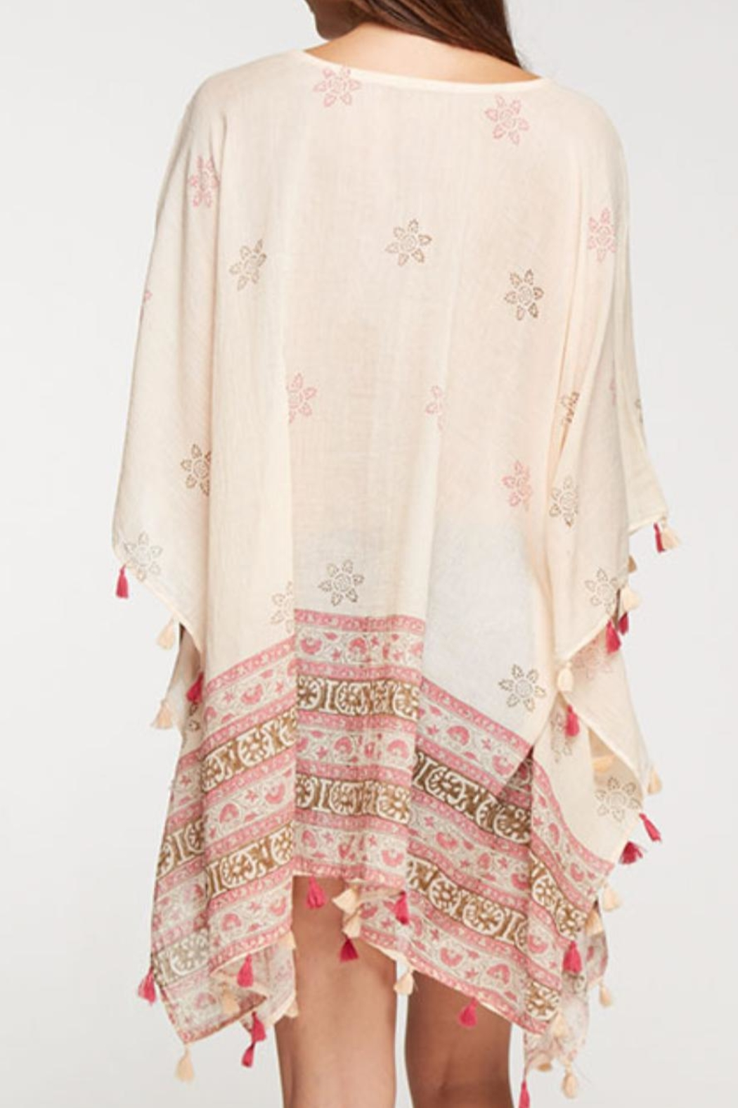 Love Stitch Printed Caftan Cover-Up - Back Cropped Image