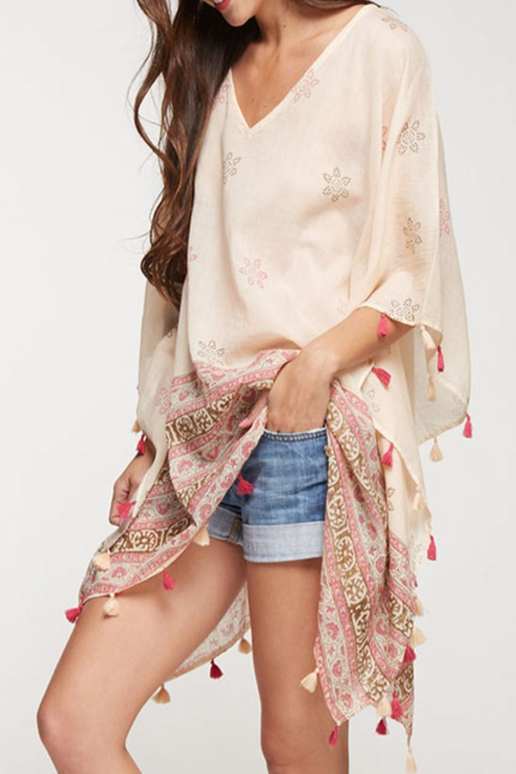 Love Stitch Printed Caftan Cover-Up - Side Cropped Image