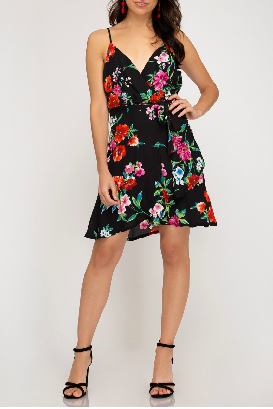 She + Sky Printed Cami Dress - Front Cropped Image