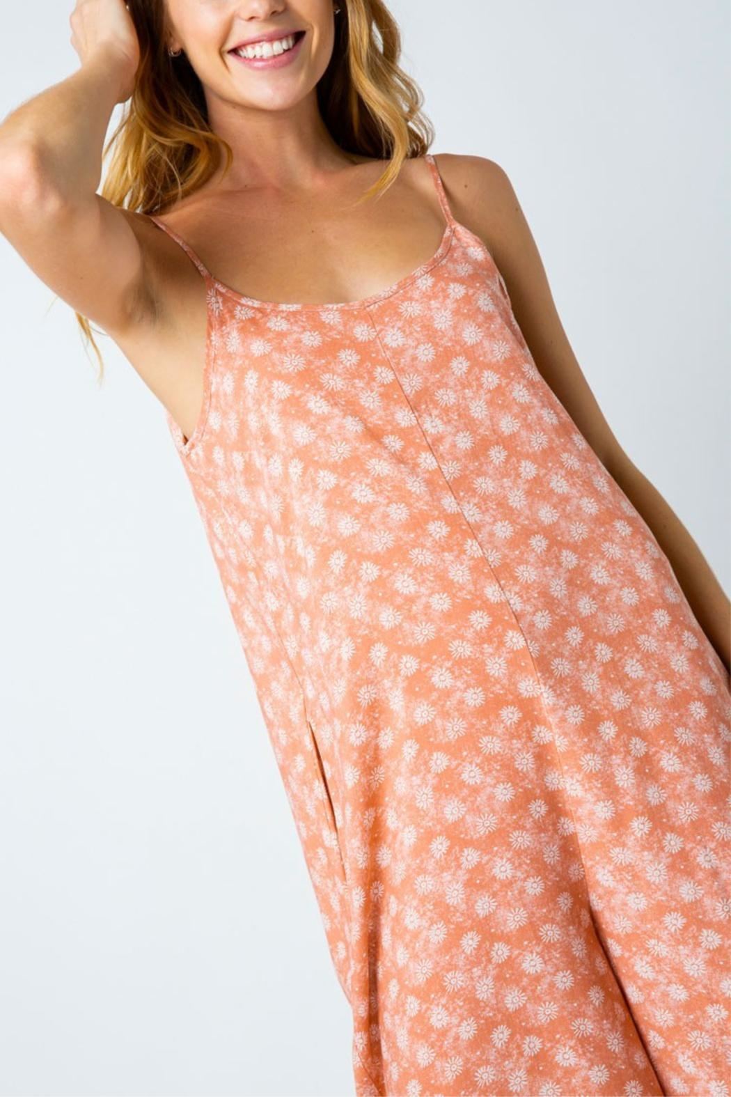 Cozy Casual Printed Capri Jumpsuit - Back Cropped Image