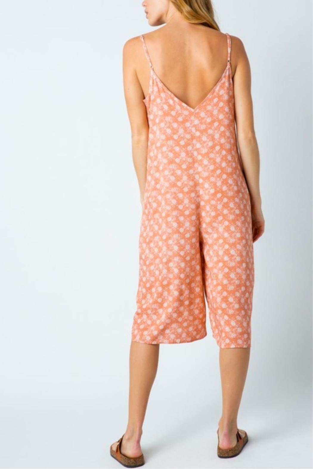 Cozy Casual Printed Capri Jumpsuit - Side Cropped Image