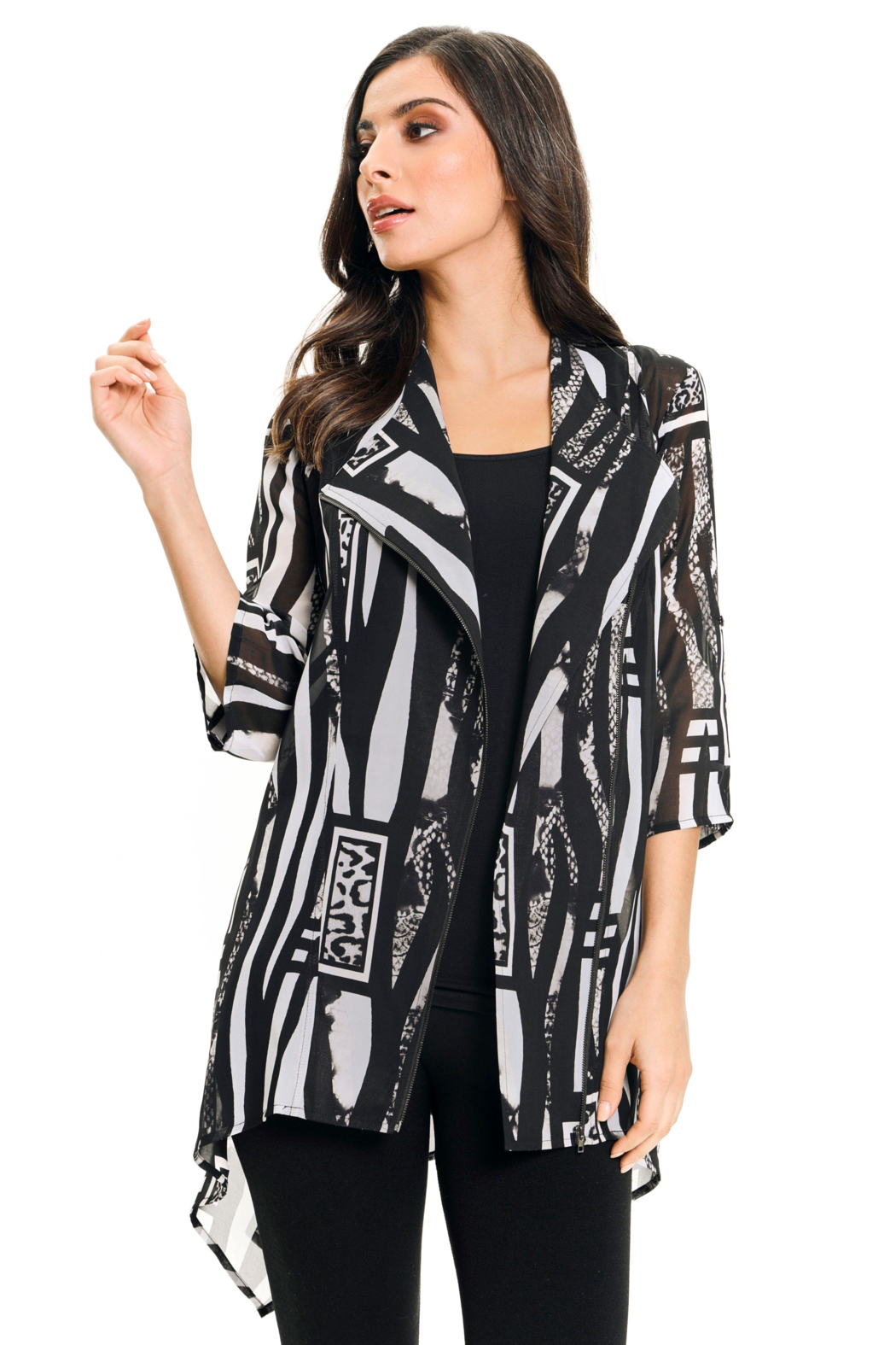 Adore Printed Chiffon Blazer - Front Cropped Image