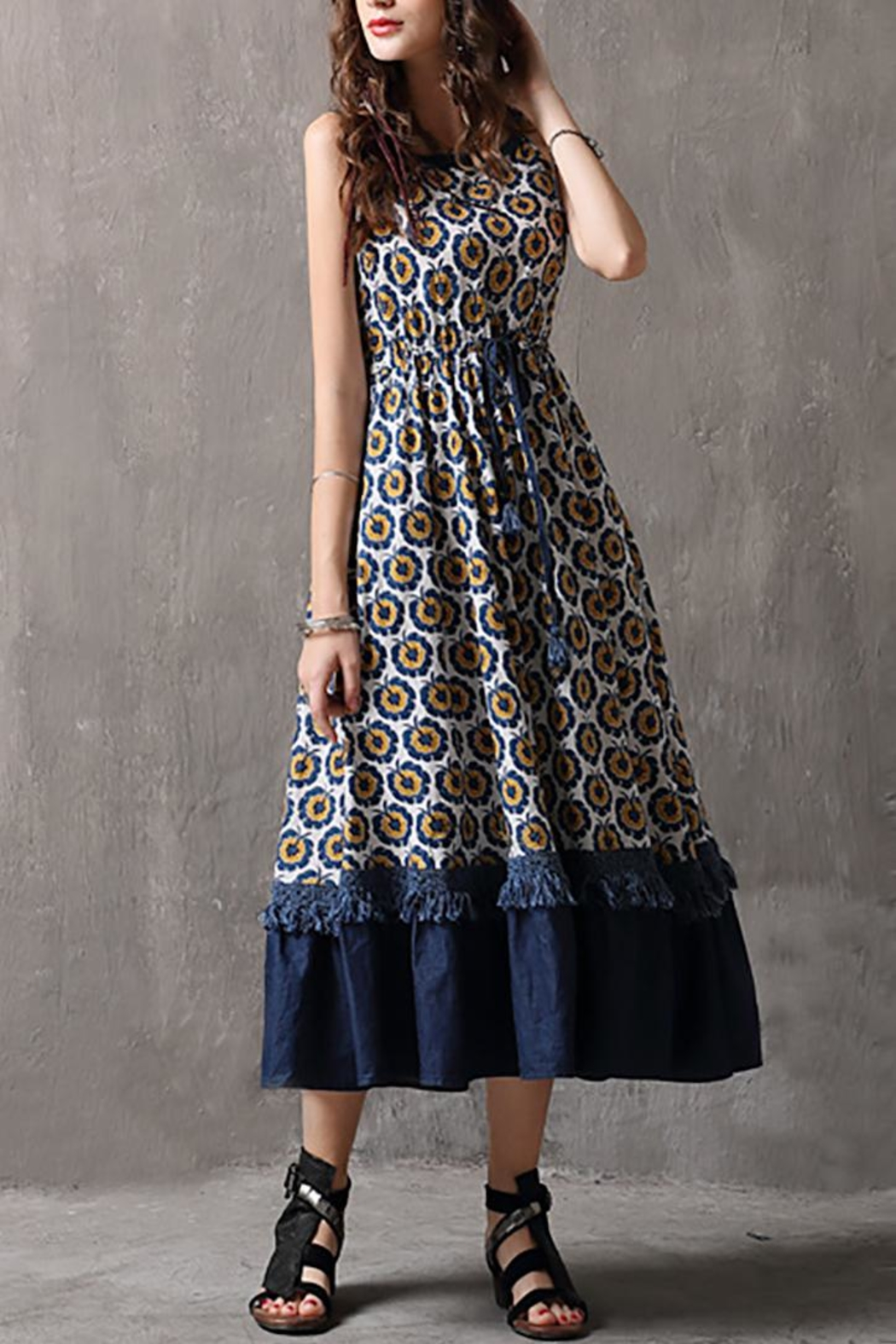 Fashion Pickle Printed Cotton Dress - Side Cropped Image