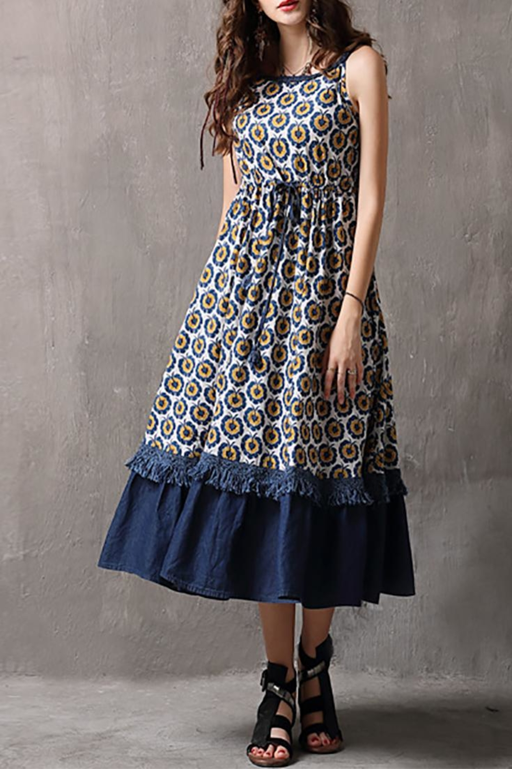 Fashion Pickle Printed Cotton Dress - Front Full Image