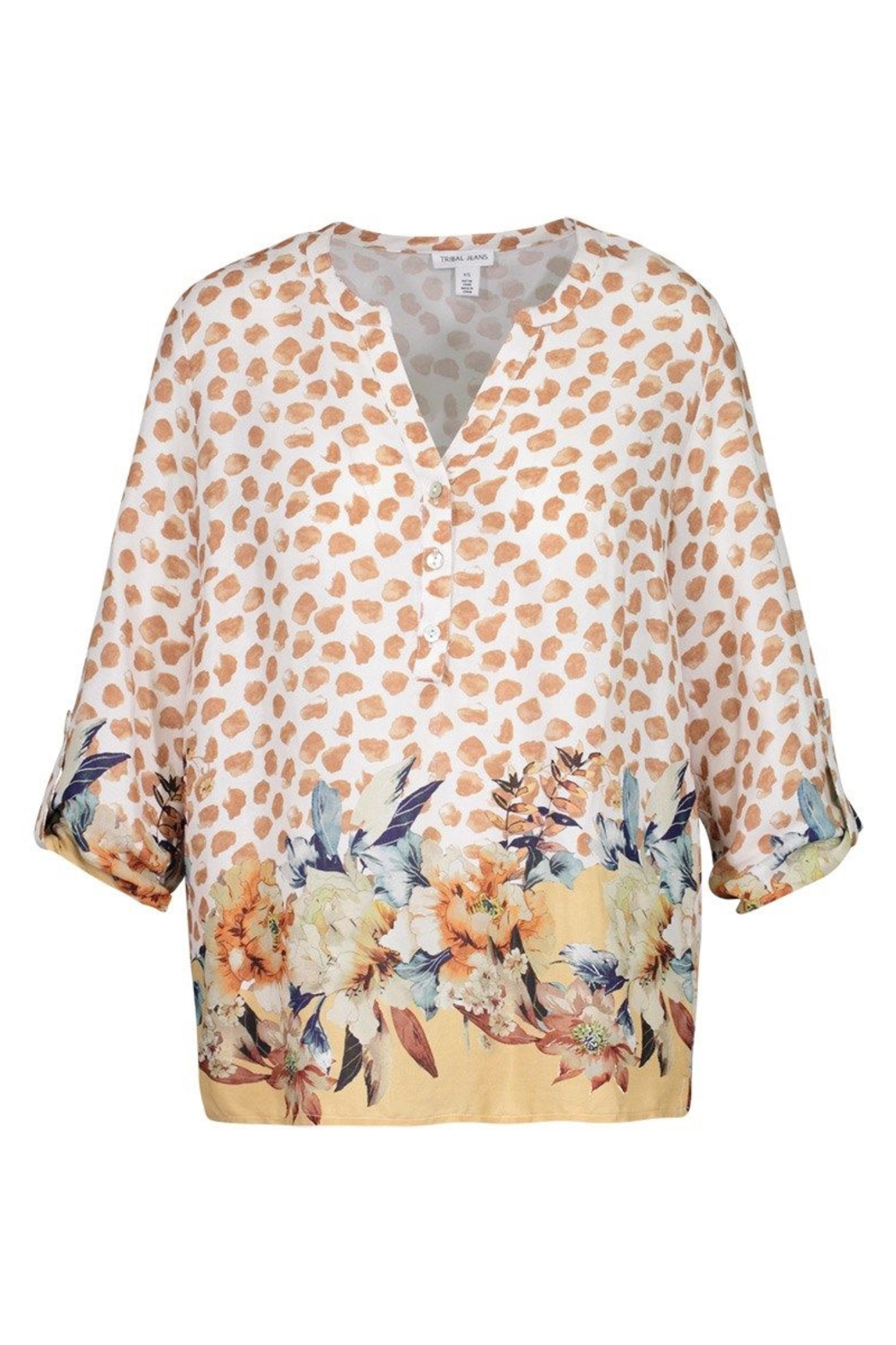 tribal  Printed Crepe Blouse - Front Cropped Image