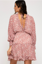She + Sky Printed Dress With Smocking Detail - Front full body