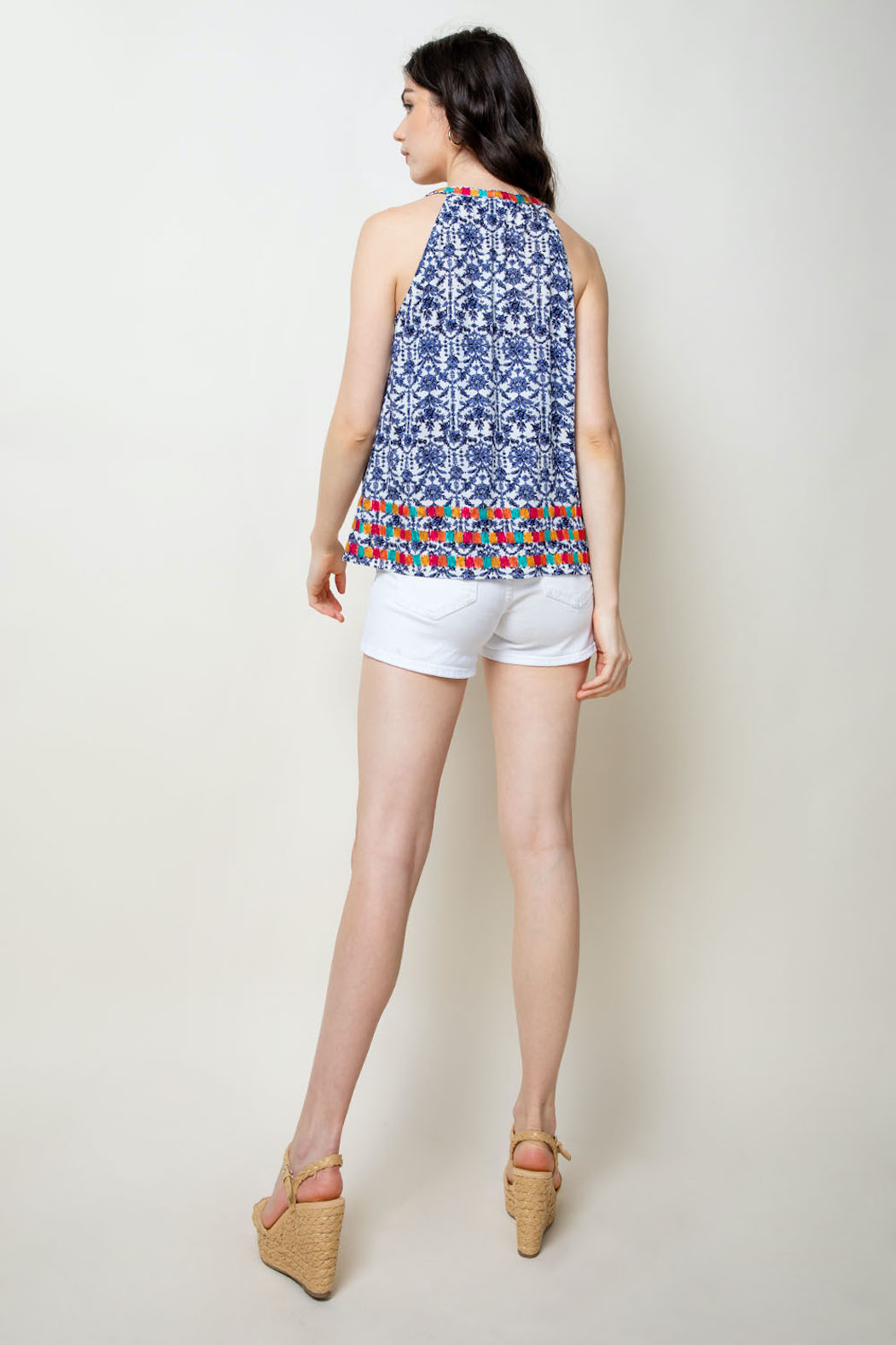 THML Clothing Printed Embroidered Halter - Back Cropped Image