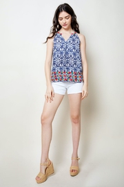 THML Clothing Printed Embroidered Halter - Front full body
