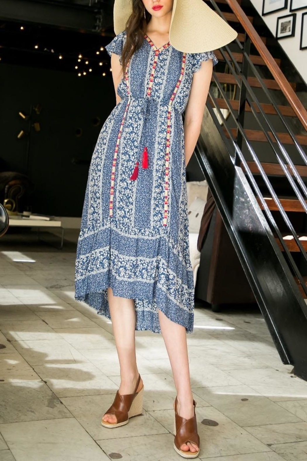 THML Clothing Printed Embroidered Midi - Main Image