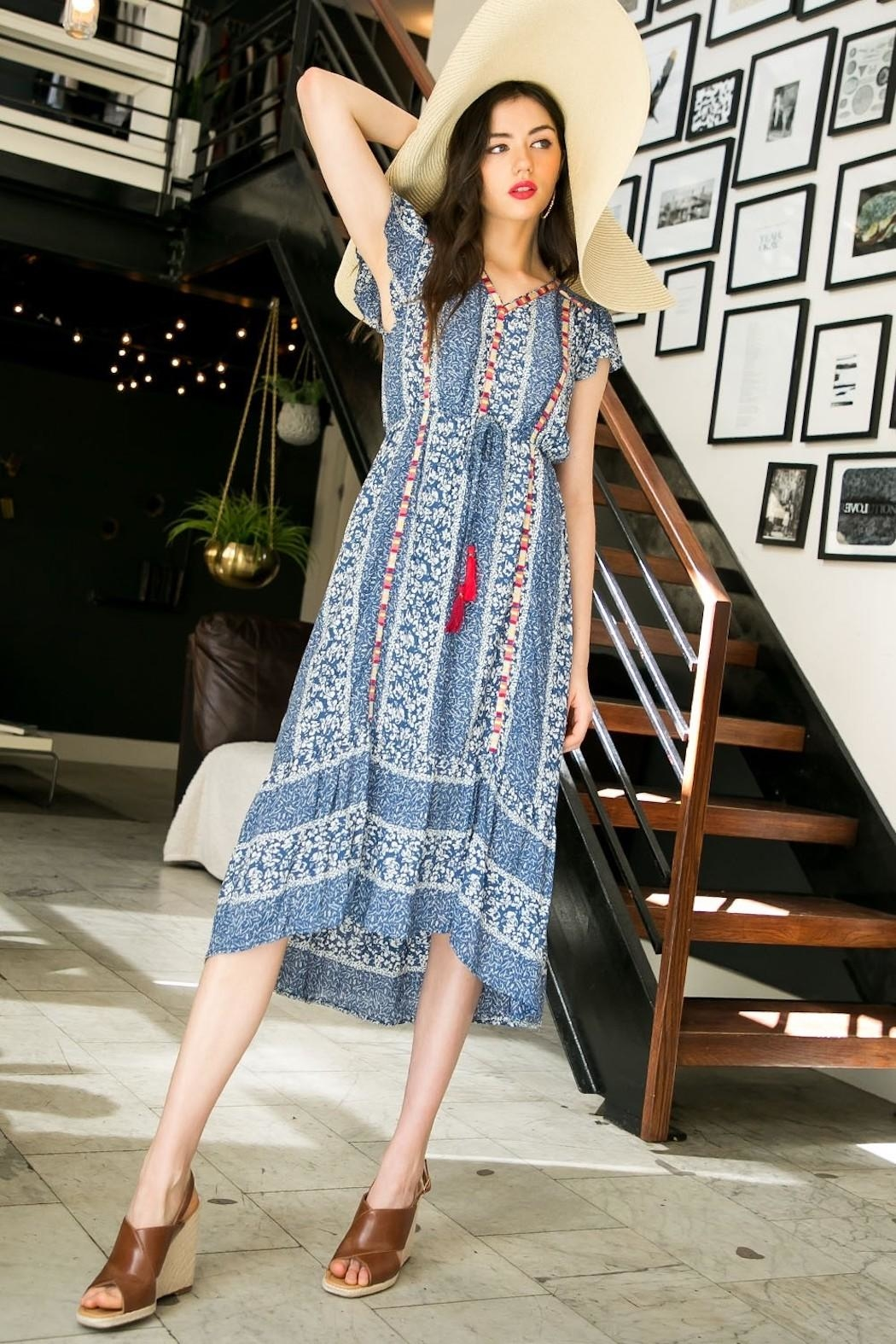 THML Clothing Printed Embroidered Midi - Back Cropped Image