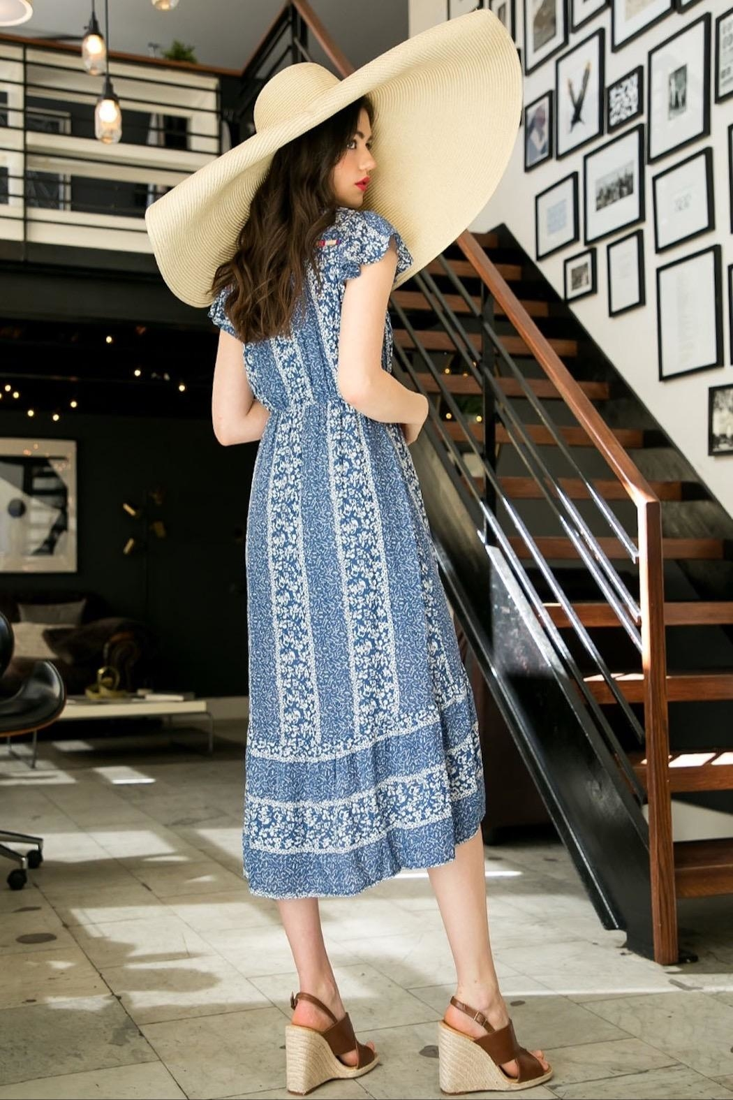 THML Clothing Printed Embroidered Midi - Front Full Image