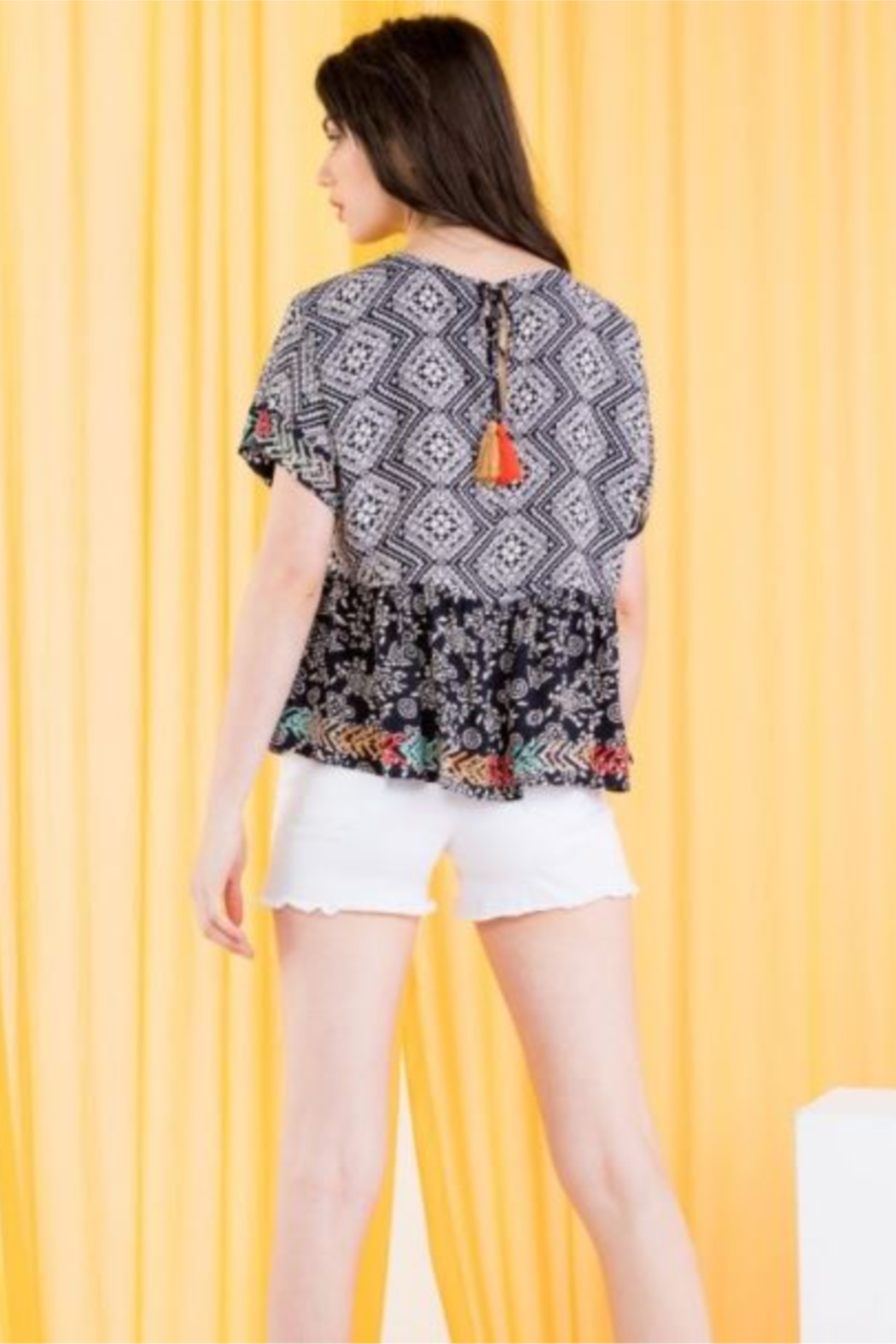 THML  Printed Embroidered Peplum top - Side Cropped Image