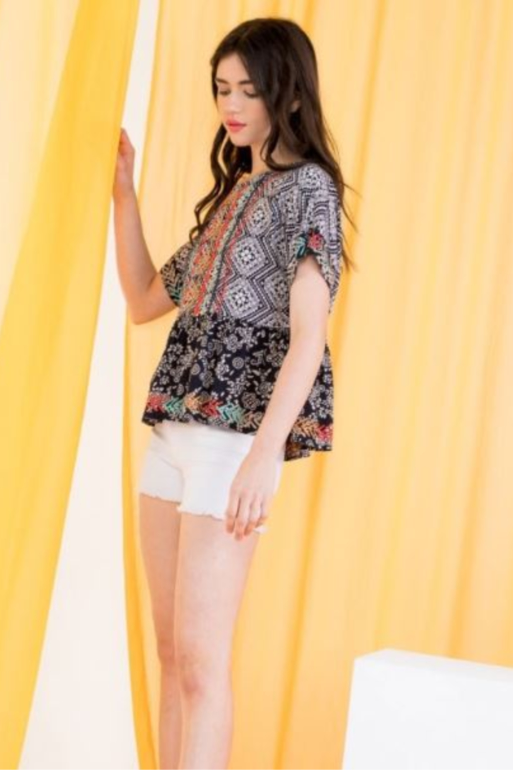 THML  Printed Embroidered Peplum top - Front Full Image