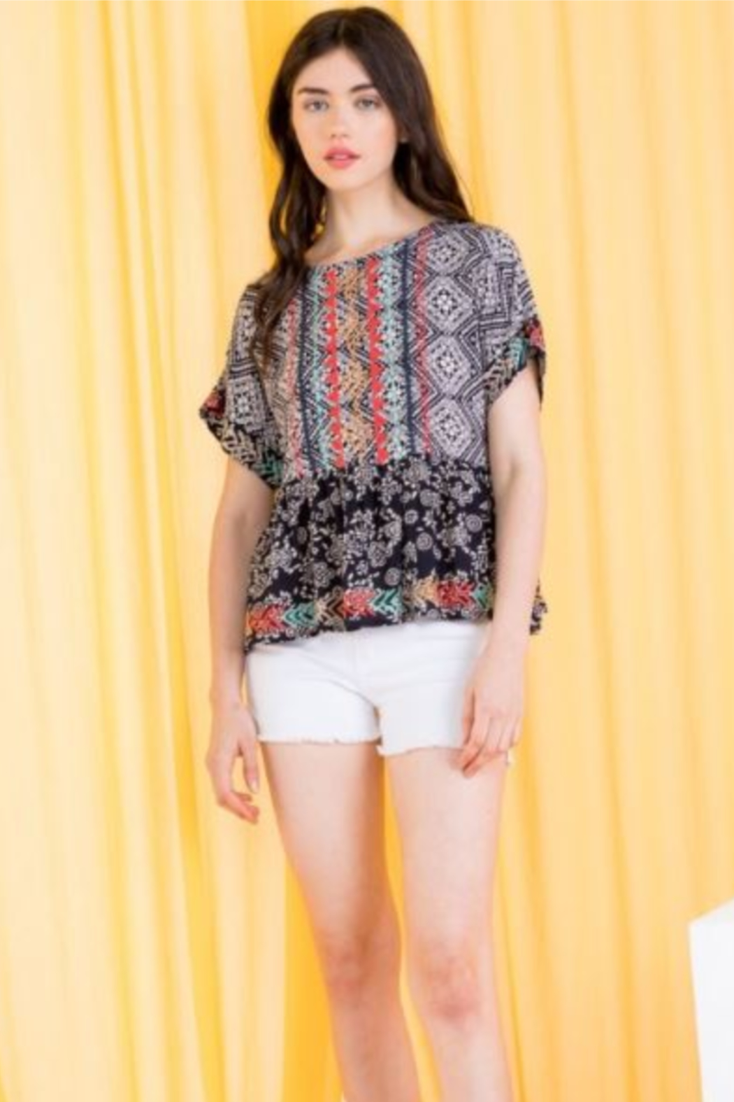 THML  Printed Embroidered Peplum top - Main Image
