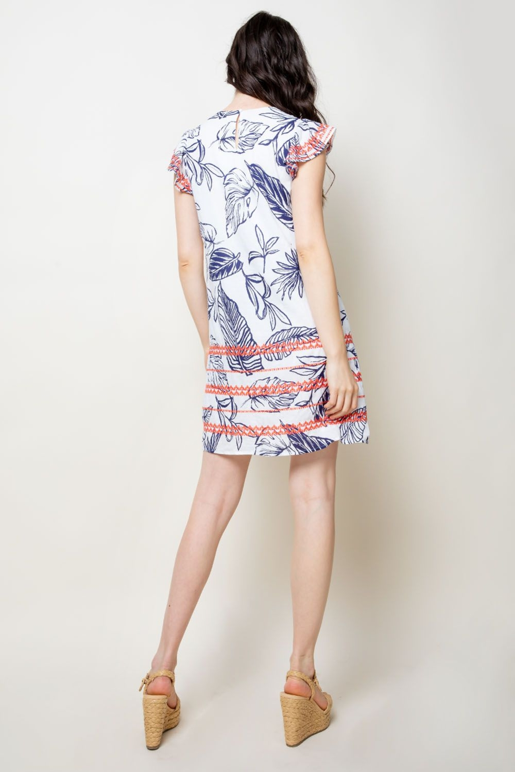 Thml Printed Embroidered Shift Dress - Back Cropped Image