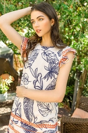 Thml Printed Embroidered Shift Dress - Front full body