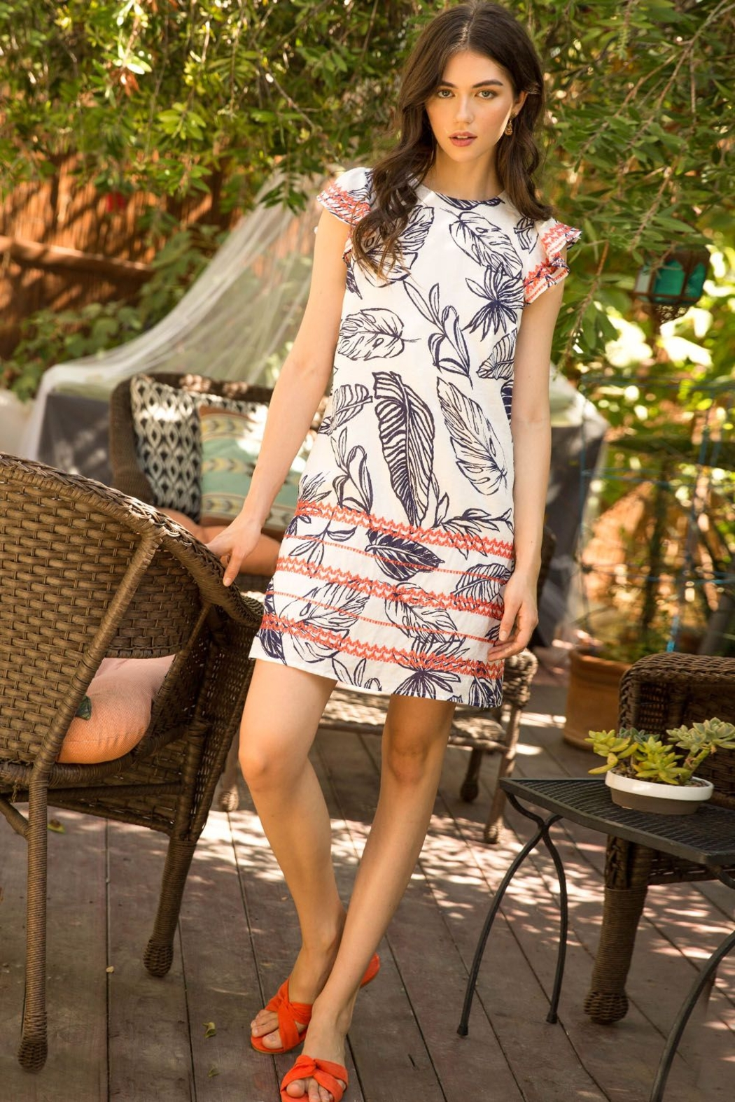 Thml Printed Embroidered Shift Dress - Front Cropped Image